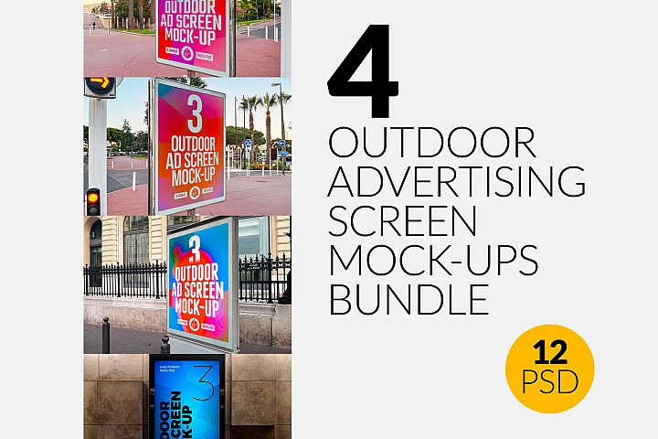 4 Outdoor Advertising Screen Mock-Ups Bundle