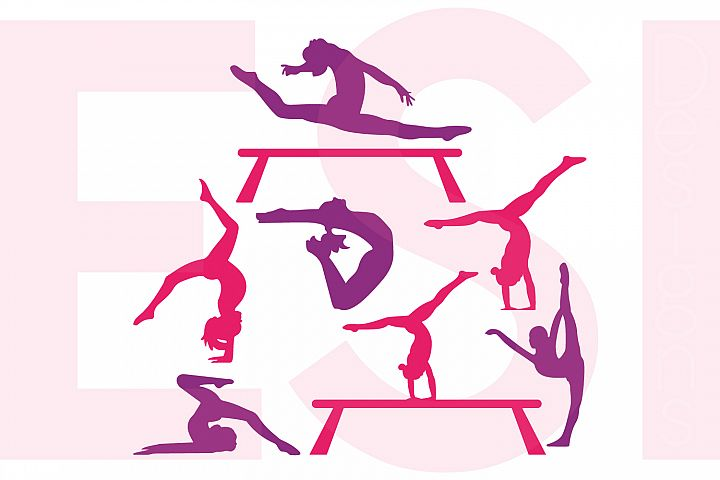 Gymnast Silhouette Designs Set