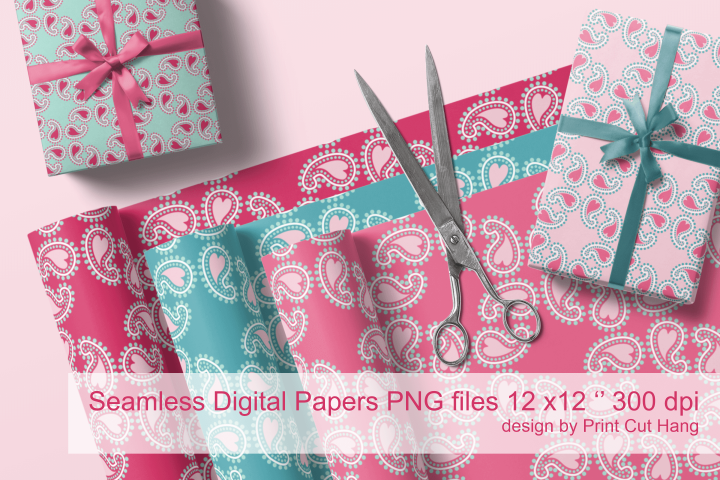 Valentine Paisley with Hearts Seamless Papers 10 PNG files