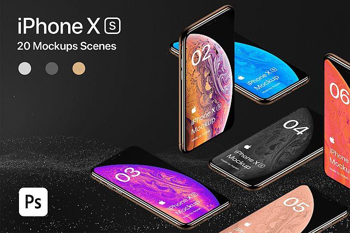 iPhone XS 20 Mockups Scenes 5K - PSD