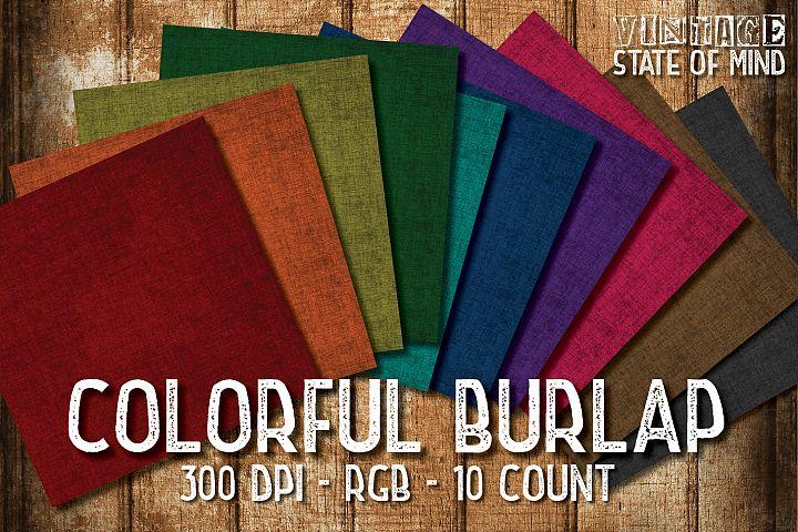 Colorful Burlap Digital Papers
