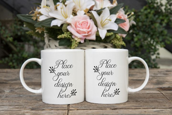 Two coffee mug mock ups double mockup mugs set of 2 cups