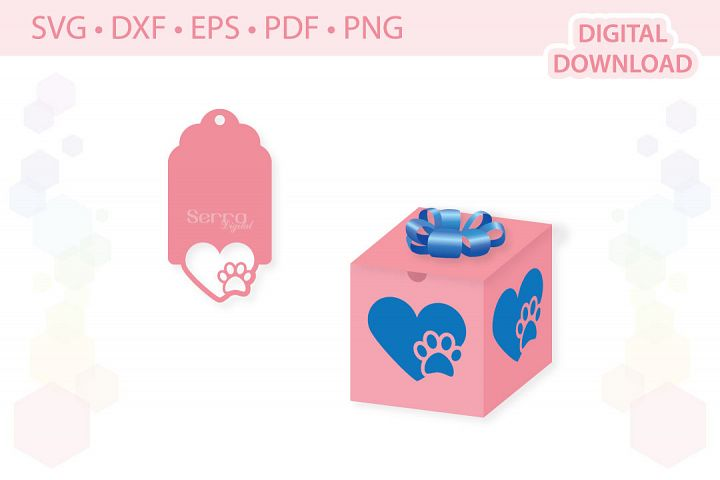 Paw Heart Gift Box Valentines Day Gift Box cut file