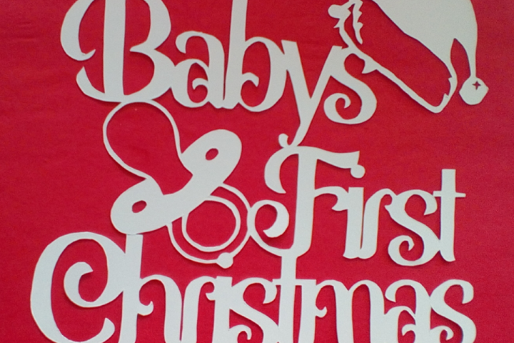 Babys First Christmas with Dummy/Pacifier Papercutting Template