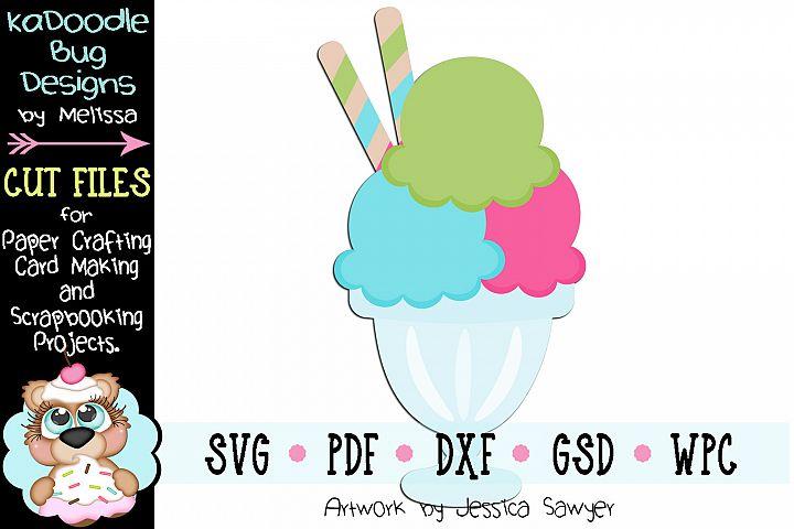 Ice Cream Sundae Cut File - SVG PDF DXF GSD WPC