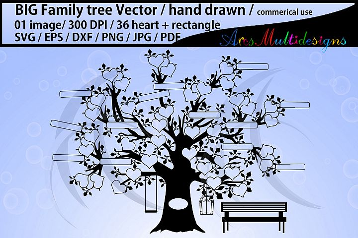 36 hearts Big family tree clipart with added rectangle