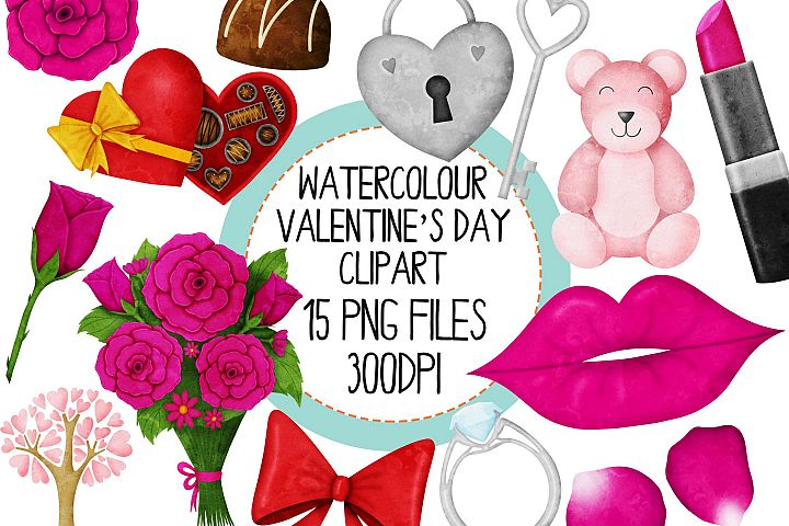 Watercolor Valentines Day Clipart Set 2