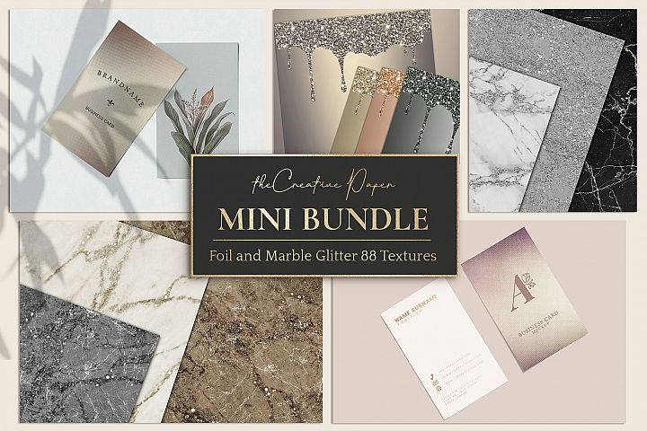 Rose Gold Foil & Marble Glitter 88 Textures - MINI BUNDLE