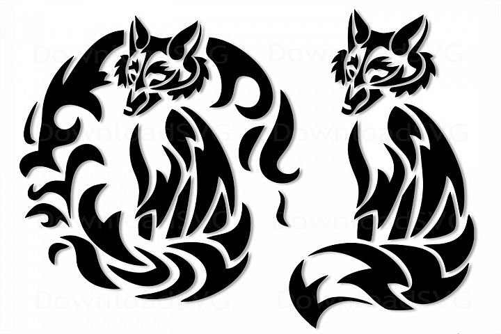 SVG and PNG cutting files, Fox, Mandala, Clipart