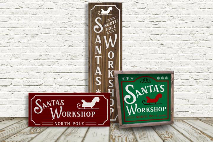 Santas Workshop Christmas Porch Sign Trio SVG File