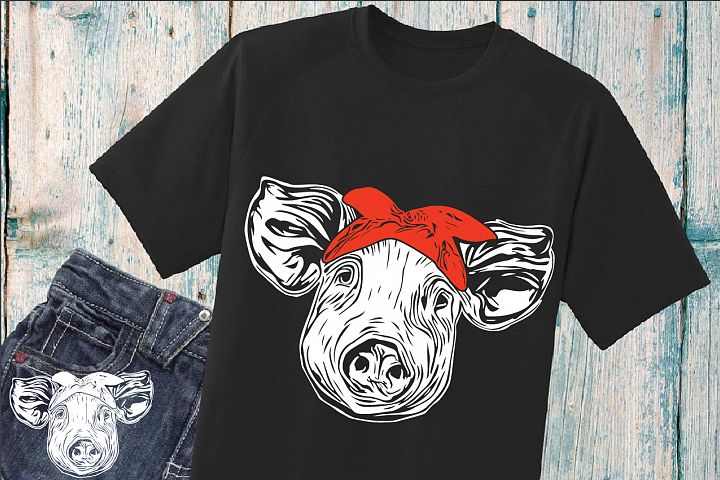 Pig Head whit Bandana SVG pigs western Farm 903s