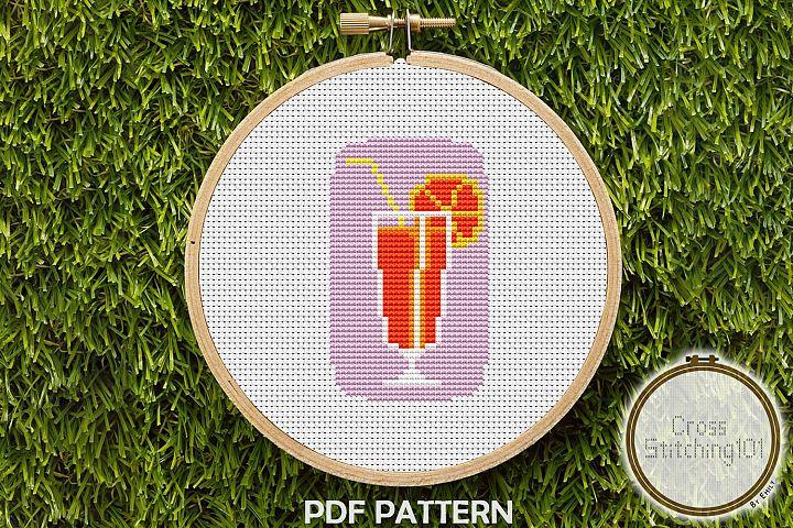 Orange Juice Cross Stitch Pattern - Instant Download PDF