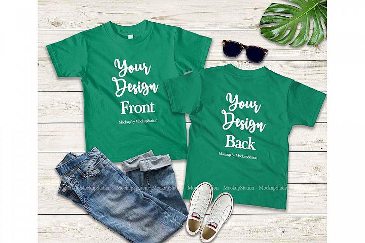 Kids Front & Back Green Tshirt Mockup, Teen Shirt Mock Up