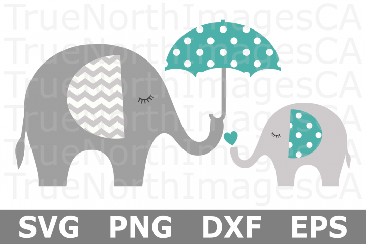 Mom and Baby Elephant - An Animal SVG Cut File
