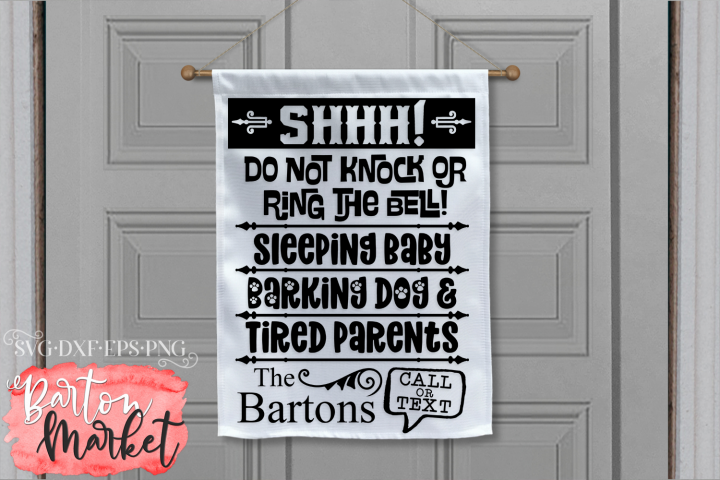 Shhh Do Not Knock Door Sign SVG DXF EPS PNG