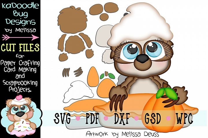 Pumpkin Pie Sloth Cut File - SVG PDF DXF GSD WPC