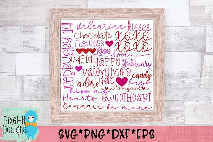 Valentine Word Art Subway SVG Cut File