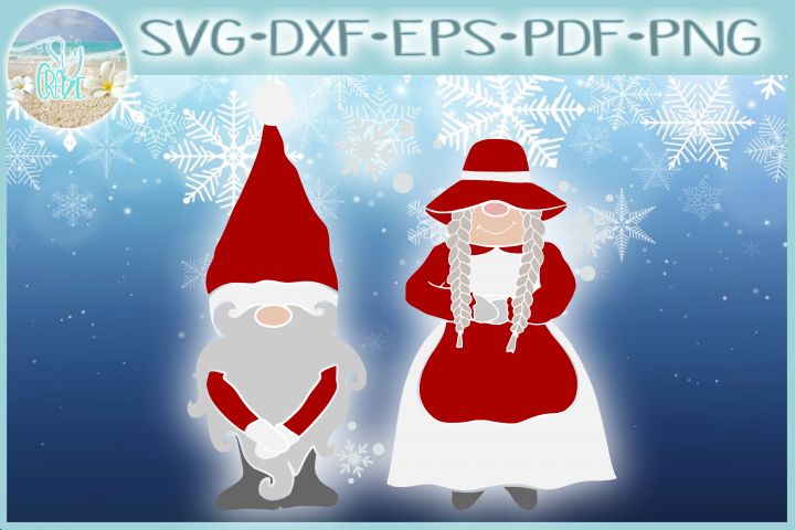 Mr and Mrs Gnome SVG Dxf Eps Png PDF Files for Cricut