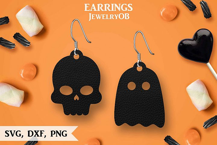 Halloween Earrings, Cut File, SVG DXF PNG Formats, Skull