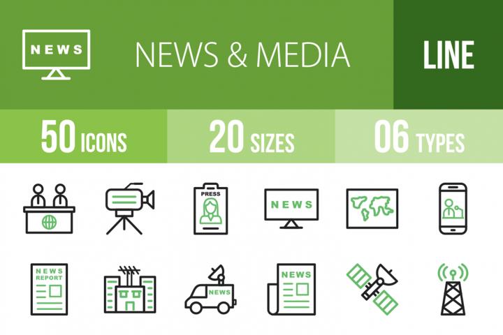 50 News & Media Line Green & Black Icons