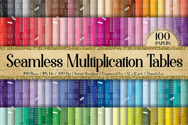 100 Seamless Math Kids Multiplication Table Digital Papers