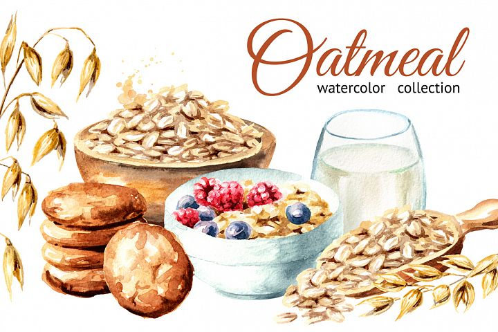 Oatmeal. Watercolor collection