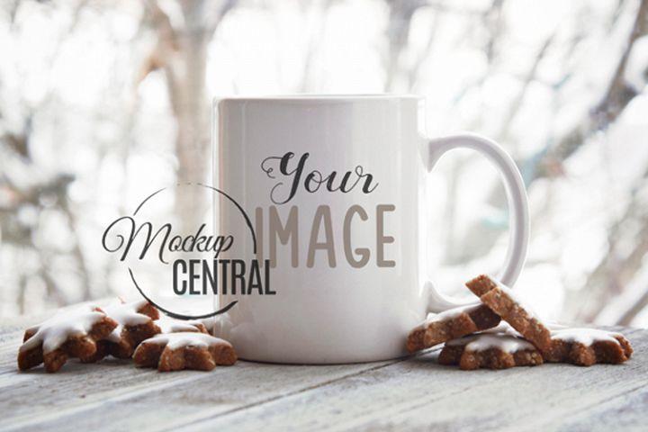 White Winter Coffee Glass Mug Mock Up, JPG Cup Mockup