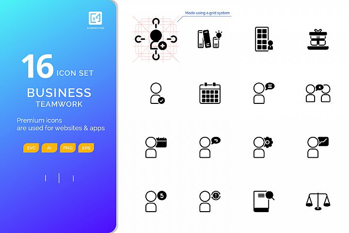 Icon set BUSINESS TEAMWORK outline glyph style