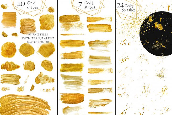 Gold clipart Brush Strokes, Stripes, Shapes, Splashes Digita