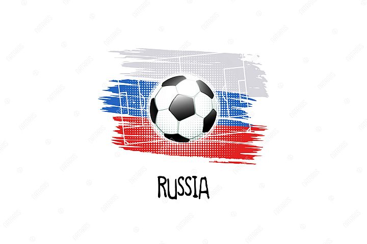 Football background with soccer ball. Team Russia.