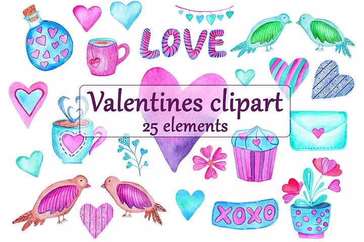 Watercolor Valentine Day Clipart Set