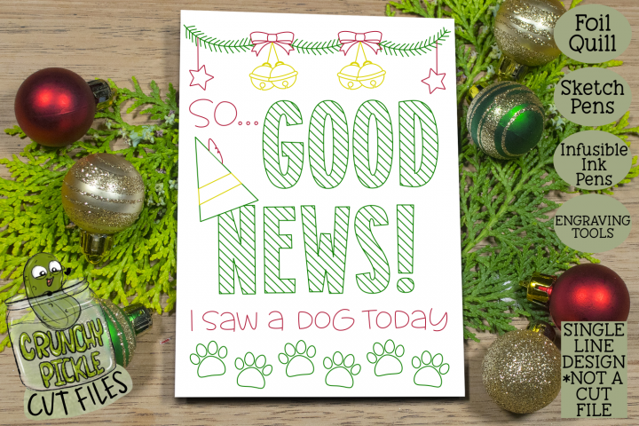 Foil Quill Christmas Card - Good News Elf Phrase