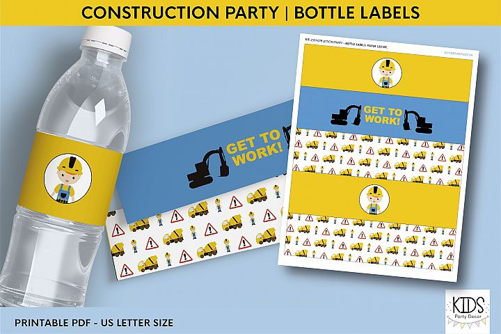 Printable birthday bottle wrappers, construction party decor