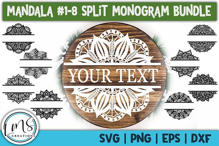 Split Mandala 1-8 Split Monogram Bundle SVG, PNG, EPS, DXF