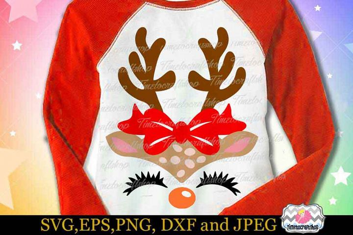 SVG, Dxf, Eps & Png Christmas Reindeer Girl Face wears bow