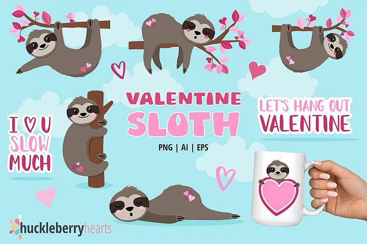 Valentine Sloths Clipart