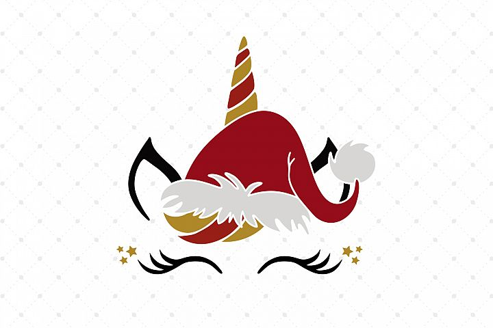 Christmas Unicorn Face SVG Cut Files