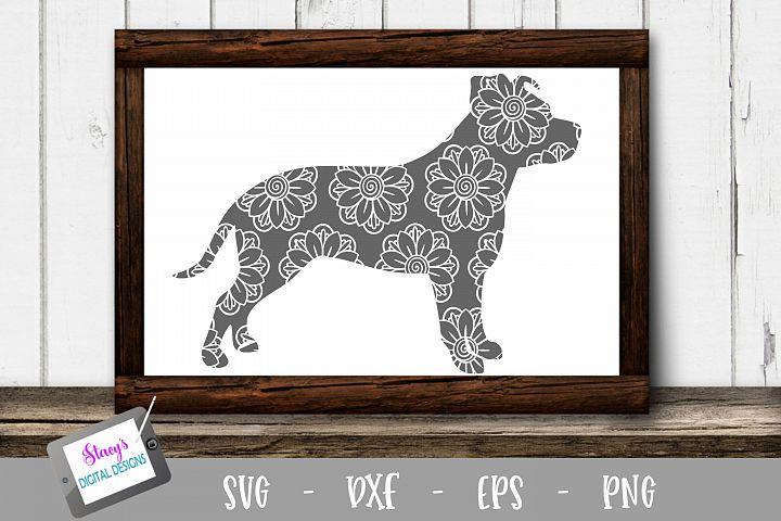 Dog SVG - Pitbull with floral mandala pattern