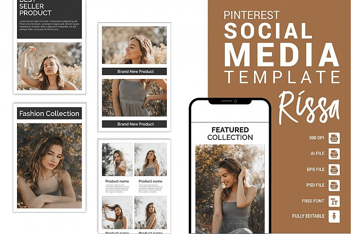 Rissa - Fashion Pinterest Templates