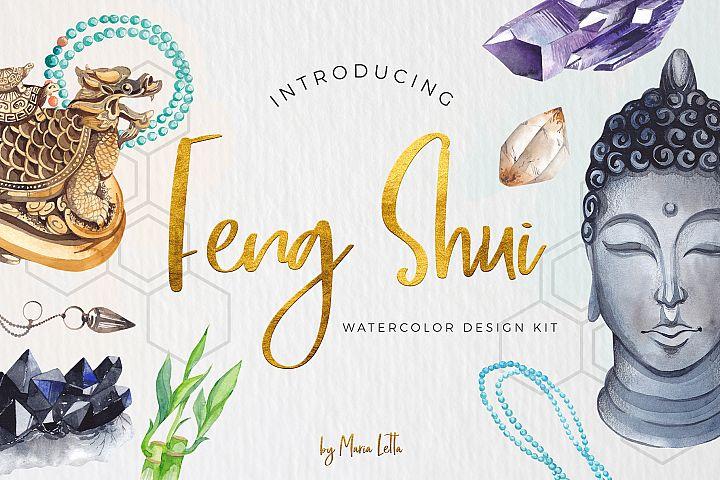 Feng Shui watercolor design kit