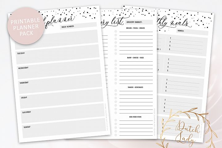 Printable Meal Plan & Grocery List - Planner Pack - Polkadot