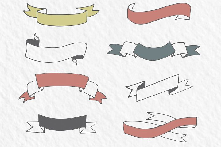 20 hand-drawn ribbons, banners - Free Design of The Week Design 2