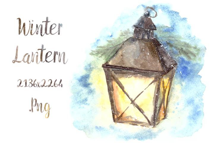 Watercolor Winter Lantern Clip Art