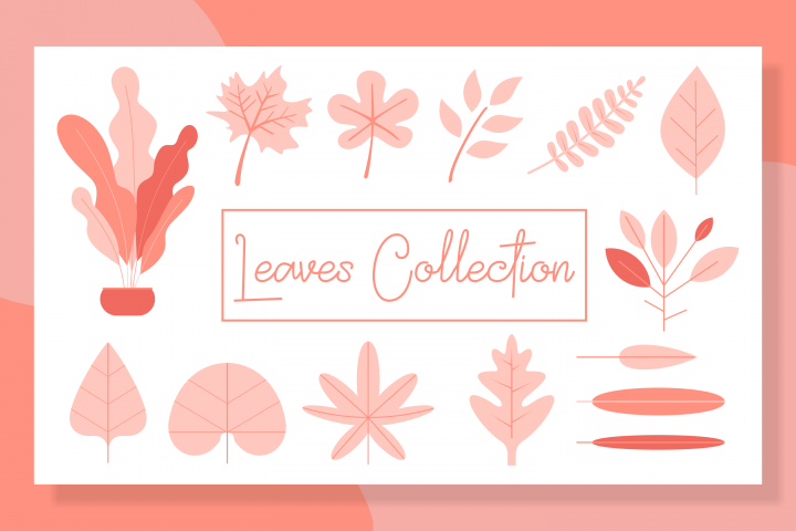 leaves collection set bundles-flat design