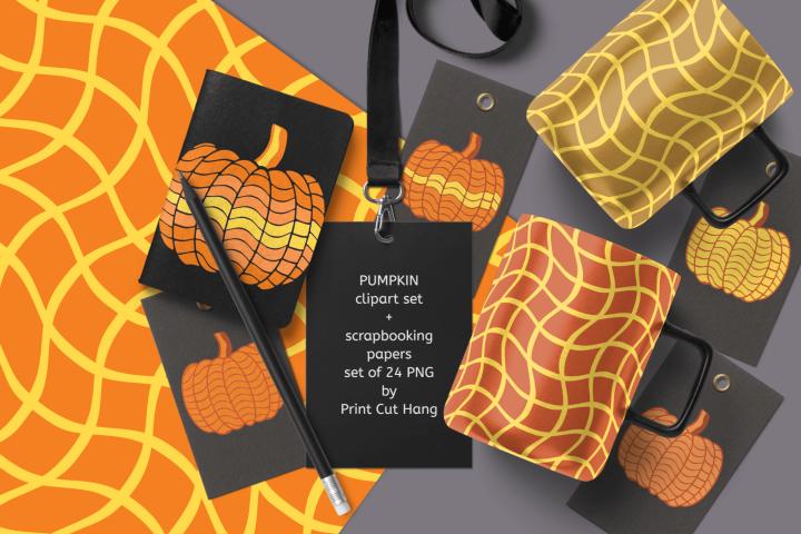 Pumpkins Clipart & Scrapbooking Papers Set of 24 PNG Files