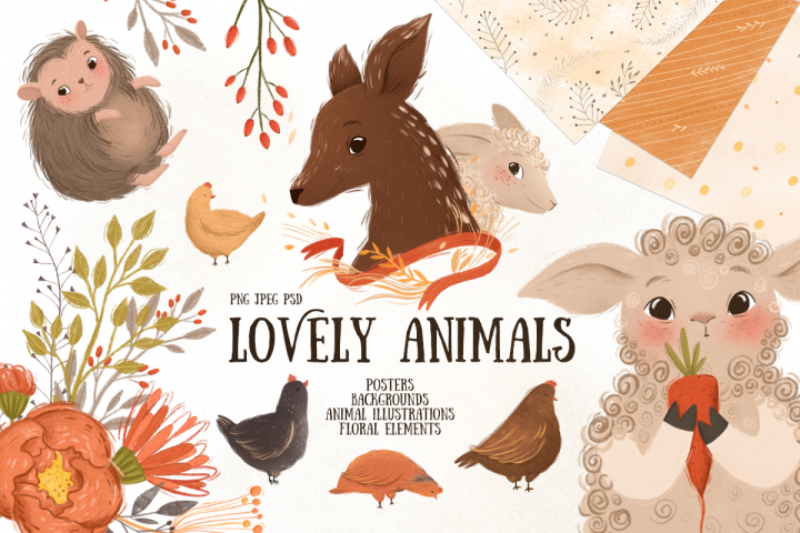 Cute animals and floral elements