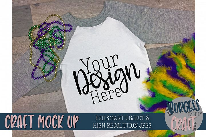 Mardi Gras Raglan t-shirt |PSD & JPEG