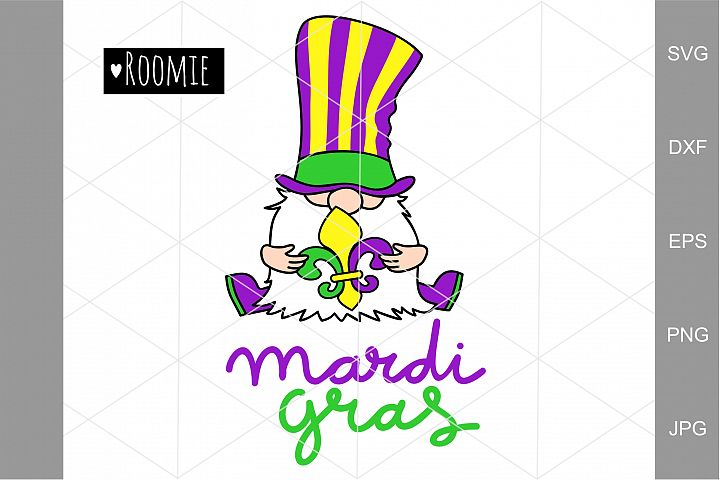Fat Tuesday Svg, Mardi Gras Gnome Svg, Fleur de Lis Clipart