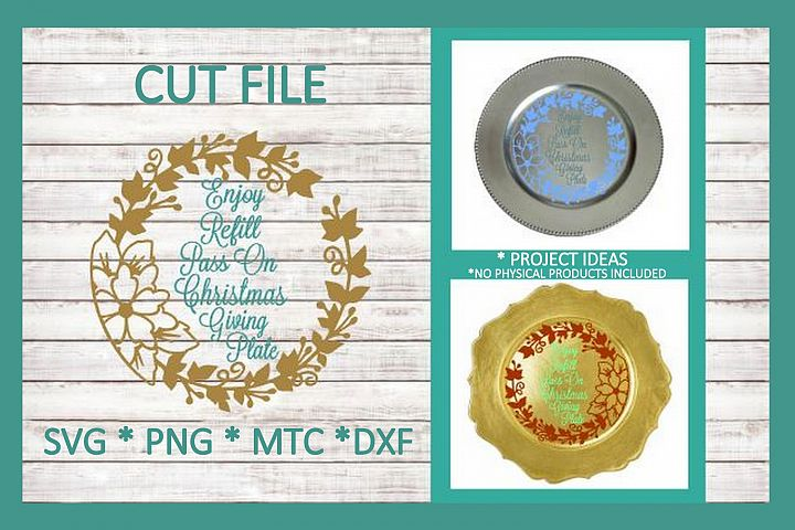 SVG Cut File Christmas Giving Plate Design #08