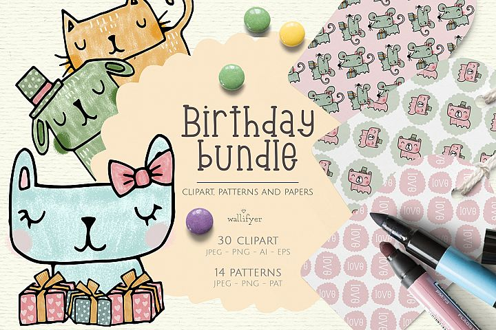Birthday clipart, scrapbooking paper, doodle, animals
